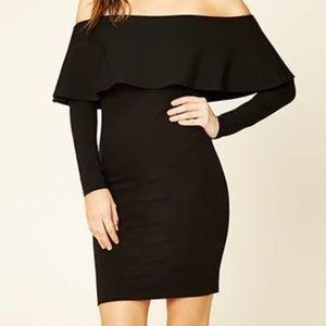 Forever21's black off the shoulder bodycon dress